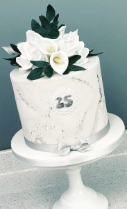 Cake Garnished with Silver Lead